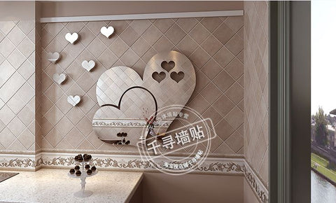 Heart mirror 3D wall stick Decorate bedroom hotel background wall stickers