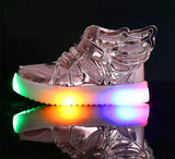 1-12 ages 3D Wings canvas flats Led kid sneaker unisex casual shoes velcro tape