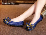 2016 New women flats genuine leather shoes casual loafers flower hand made