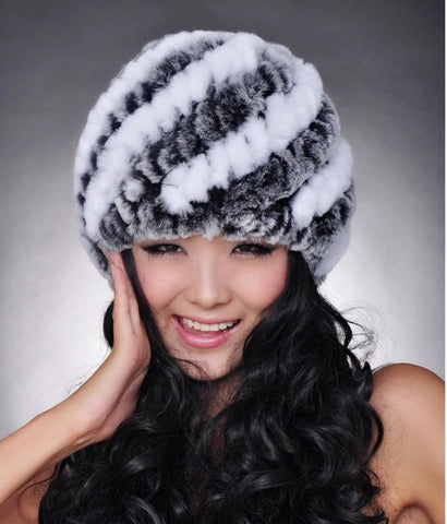 100% Genuine Rex rabbit fur hat winter women hat