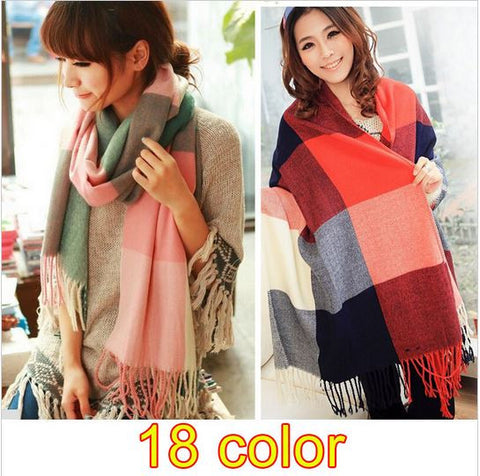 18 Color Brand Winter Scarf Fashion Cashmere Desigual Scarf Women Plaid Thick Scarves Shawl for Wome