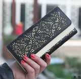 Fashion New Classic explosive dual fold hollow Women Long Wallet lady purse card Mix Color