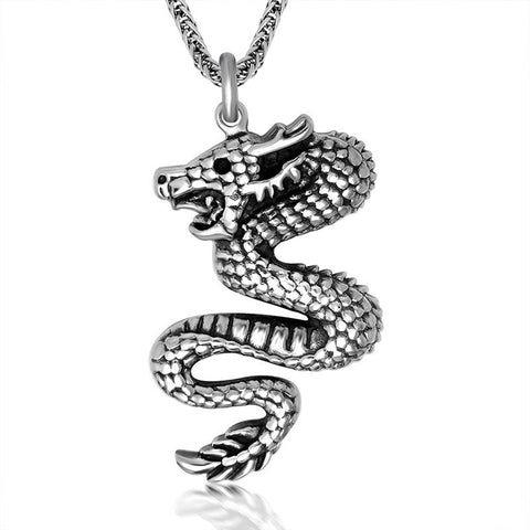 Chinese mysterious flying wind Dragon Pendant Titanium steel jewelry including chain SP199