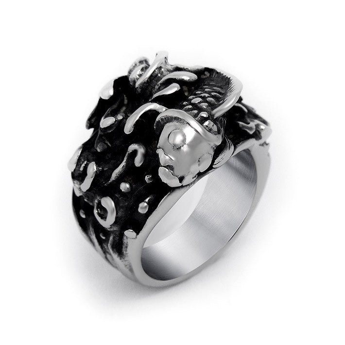 Chinese national wind carp relief on the flower ring Titanium steel jewelry SA463
