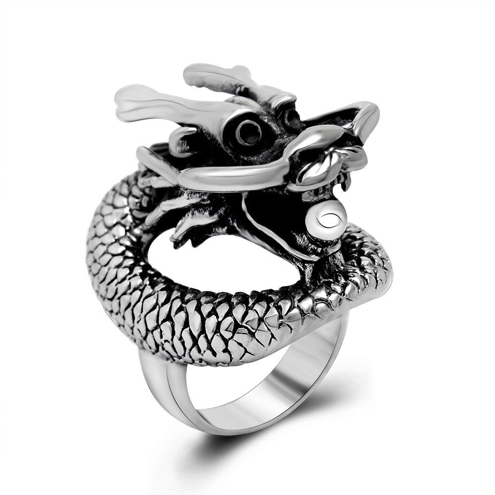 Chinese national wind dragon personality domineering ring Titanium steel jewelry wholesale SA392