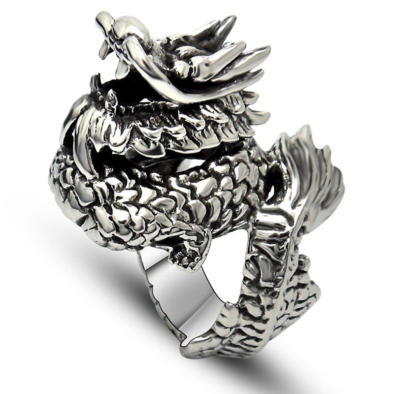 Chinese wind been lucky Dragon ring titanium steel jewelry SA413