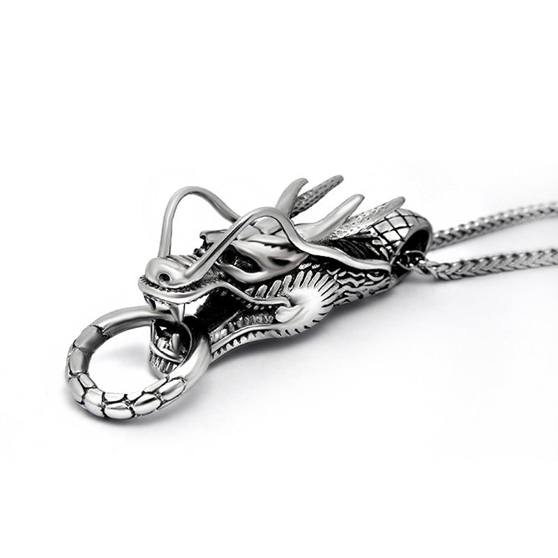 Classic Dragon Head Pendant Personality and chic titanium steel jewelry including chain SP164