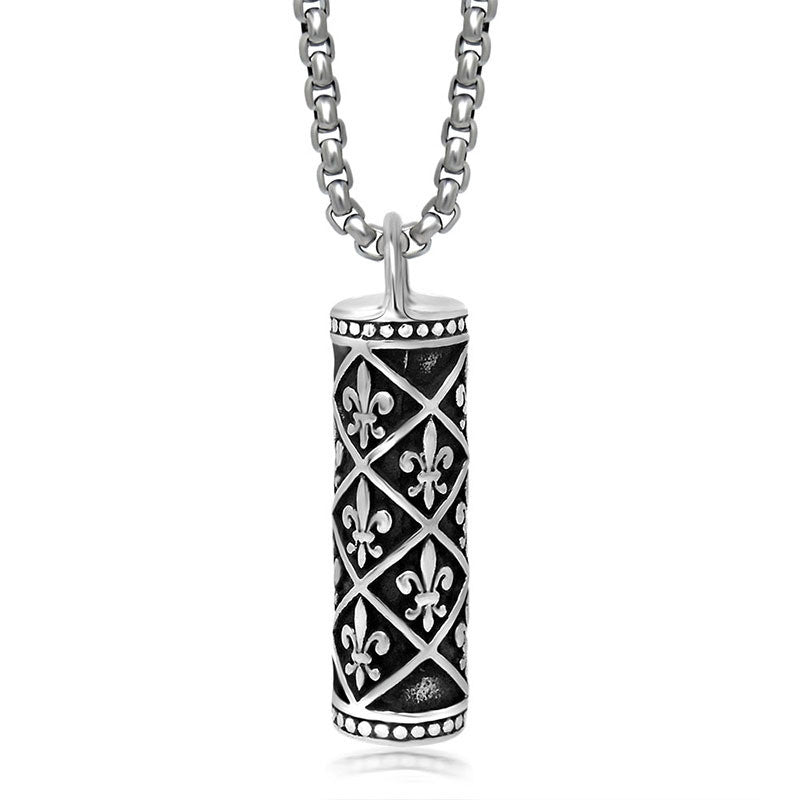 Classic men s Necklace Pendant titanium cylindrical profile including chain SP220