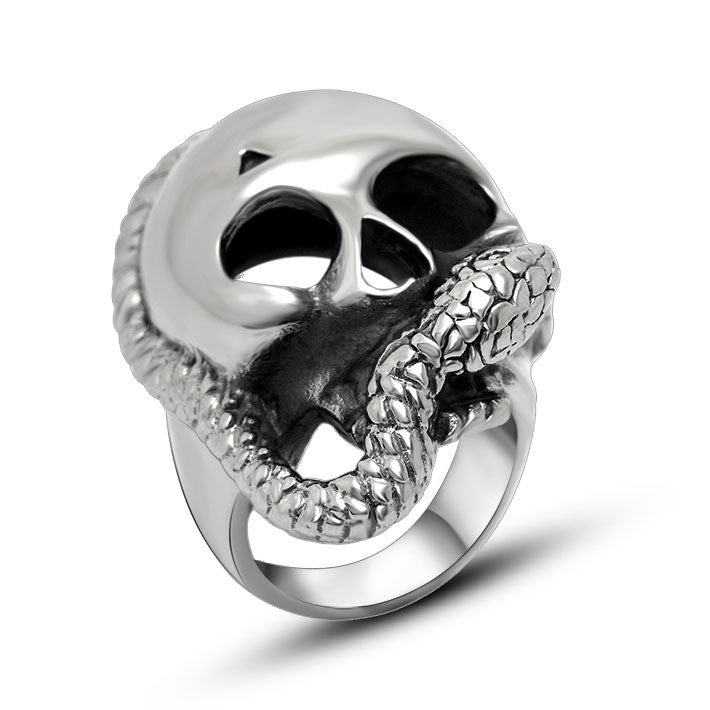 Concise fashion skull snake winding ring highlights your special SA393
