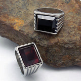 Contracted red black gem lovers ring personality fashion titanium steel jewelry SA713