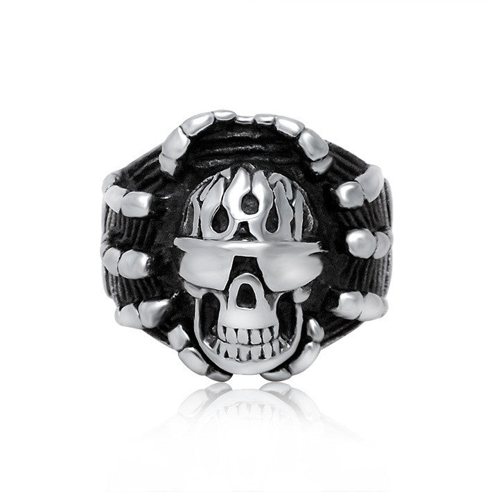 Creative love smug sunglasses skull titanium steel ring SA441
