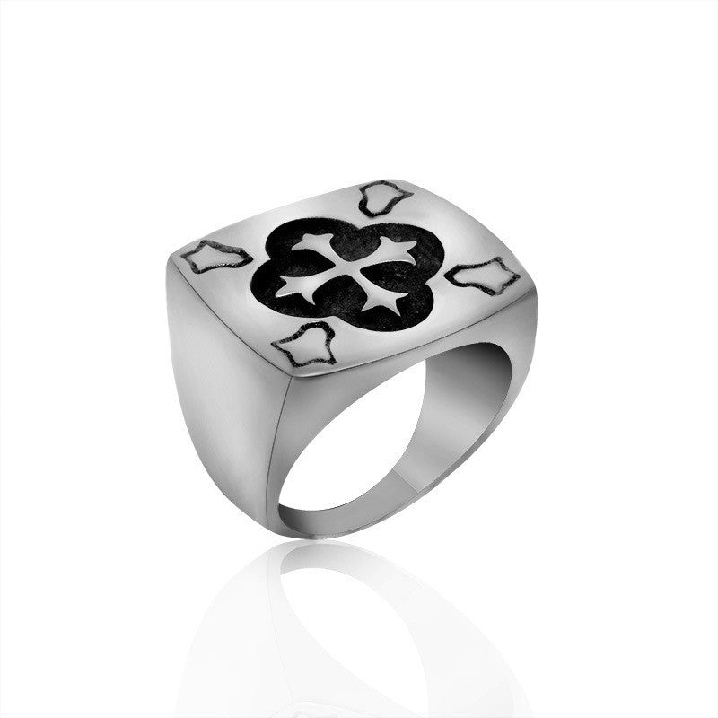 Cross recessed flower geometric shape titanium ring SA563