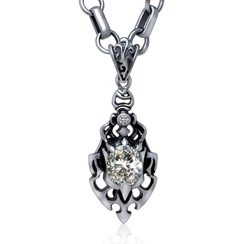 Dance partner Flowers white zircon pendant of fire Titanium steel jewelry contain chains SP125