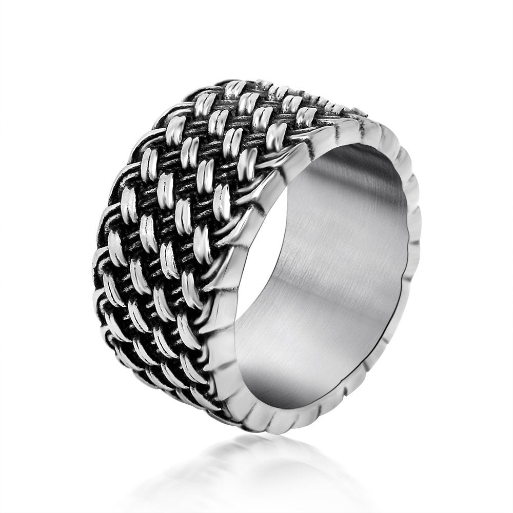 Design restoring ancient ways of love interwoven men ring personality domineering titanium steel jewelry SA710