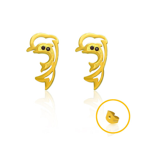 18k Gold Dolphin earrings hypoallergenic earrings Korean fashion style CF082
