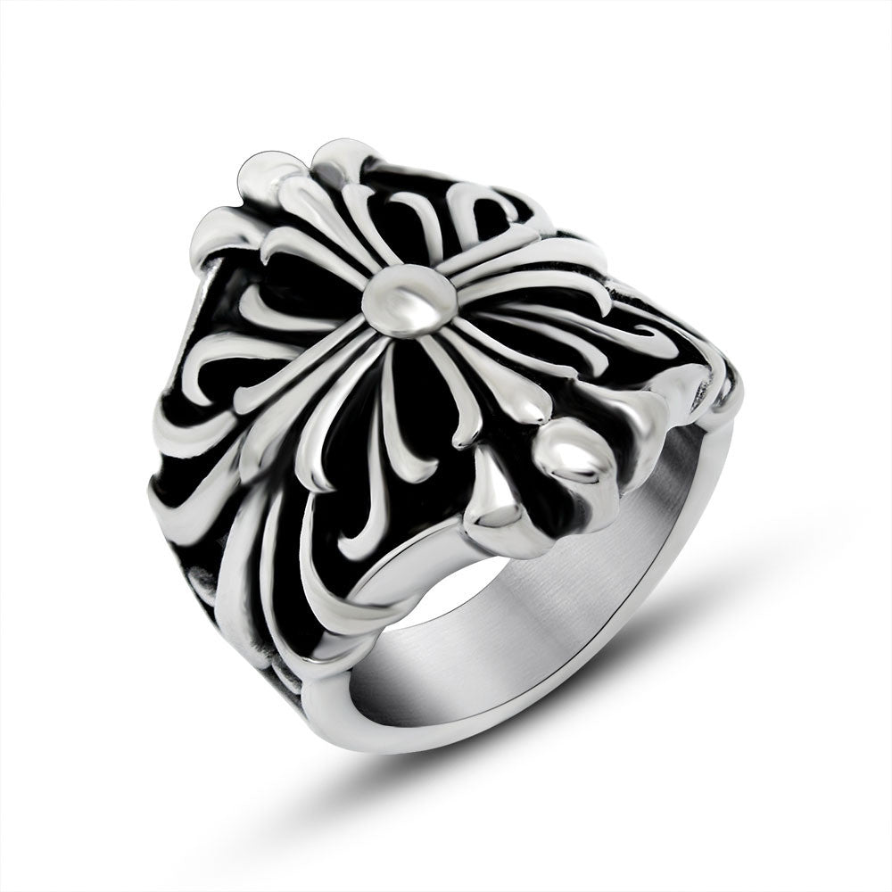 Domineering cross laminated flower ring tide restoring ancient ways of titanium steel jewelry wholesale SA727