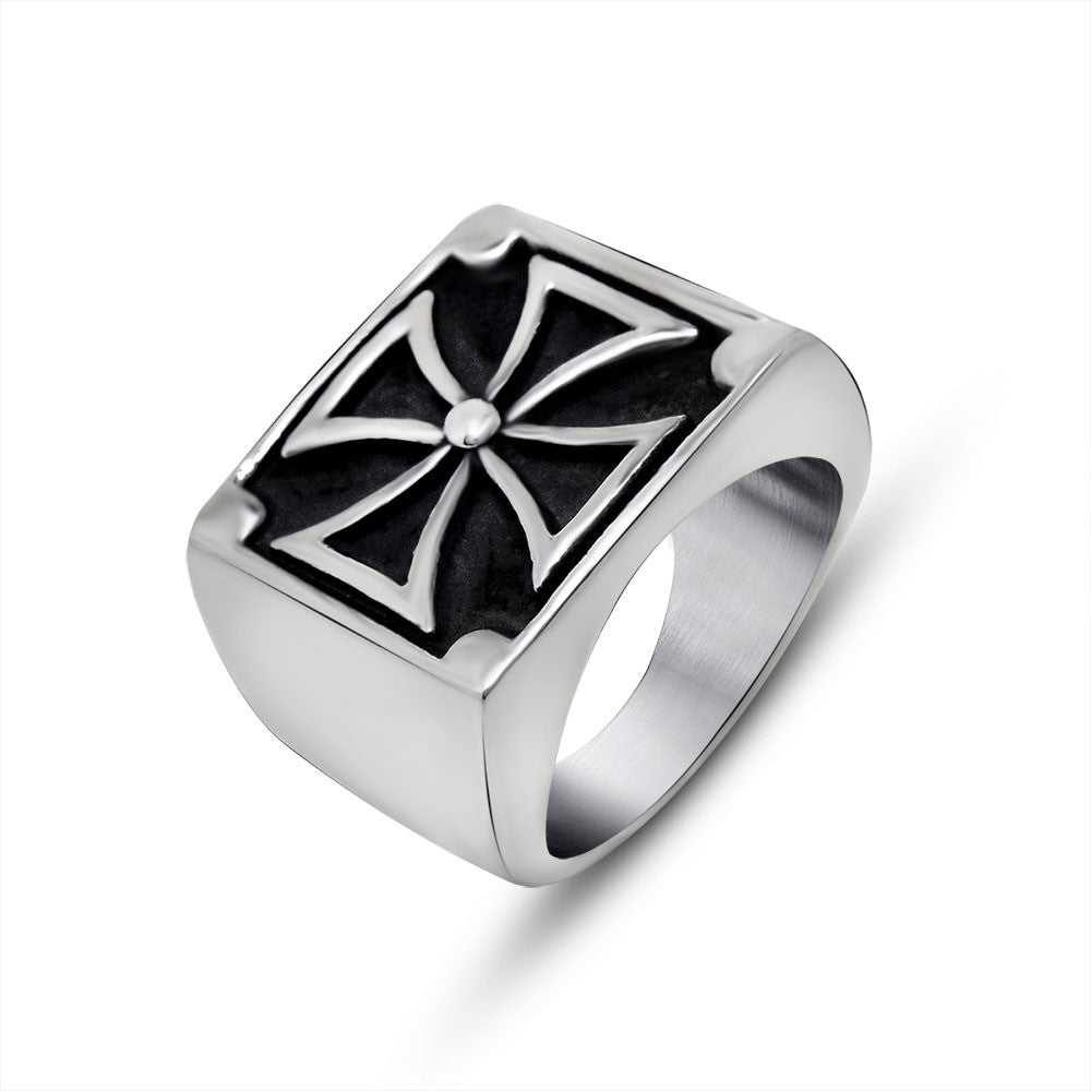 Domineering man cross titanium steel jewelry tide restoring ancient ways ring accessories single personalities SA584