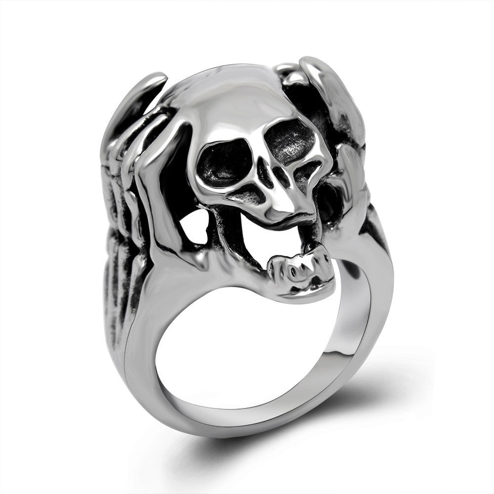Domineering tide personality skull titanium steel ring Accessories wholesale SA390