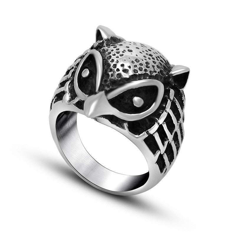 Down with the price retro trend exaggerated Owl ring SA510