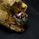 Dragon claw Black red gem man ring Single domineering personality Korean version titanium steel