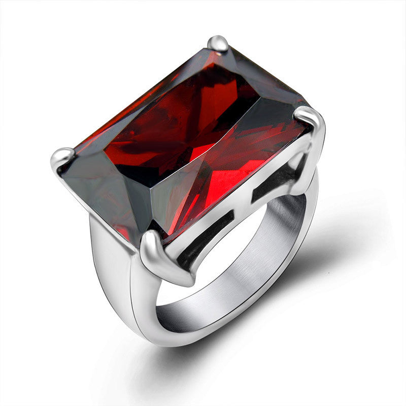 Elegant ruby ring personality trend of titanium steel jewelry fashion queen SA628