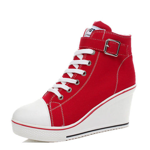 Fashion Women Shoes Canvas High Top Wedge Heel Lace Up Fashion Sneakers US 6-9