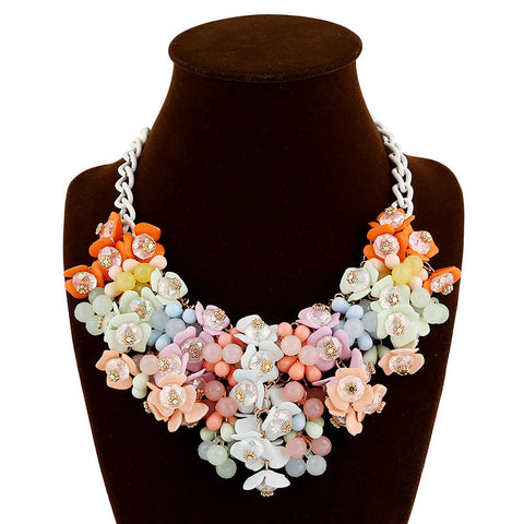 Candy Color Resin Flower Choker Necklace ZA Brand luxurious Statement Necklace for Women
