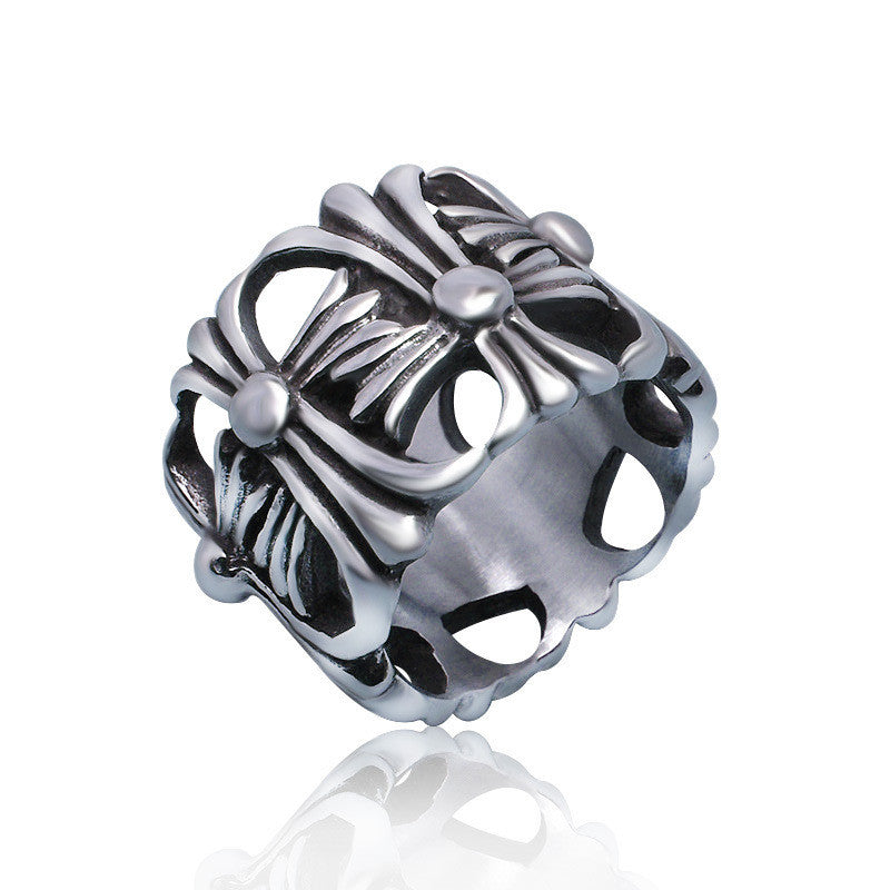 Exaggerated Hollow Out Rings For Men Personality Retro Vintage Stainless Steel Male Jewelry Friendship Men s