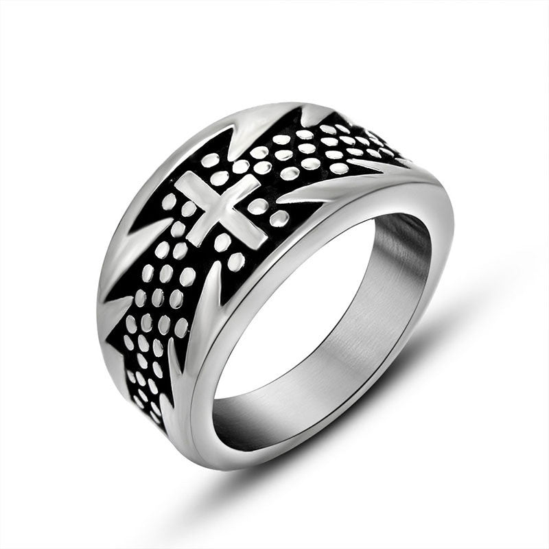 Exaggerated cross flower ring Titanium steel jewelry personality SA462