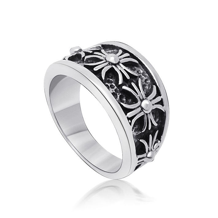 Explosion models recommended retro personality cross pattern steel ring SA360