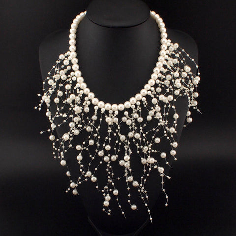 Fashion Beads Collar Necklace For Women New Wedding Accessories Releasing Pearl Necklaces Statement Jewelr