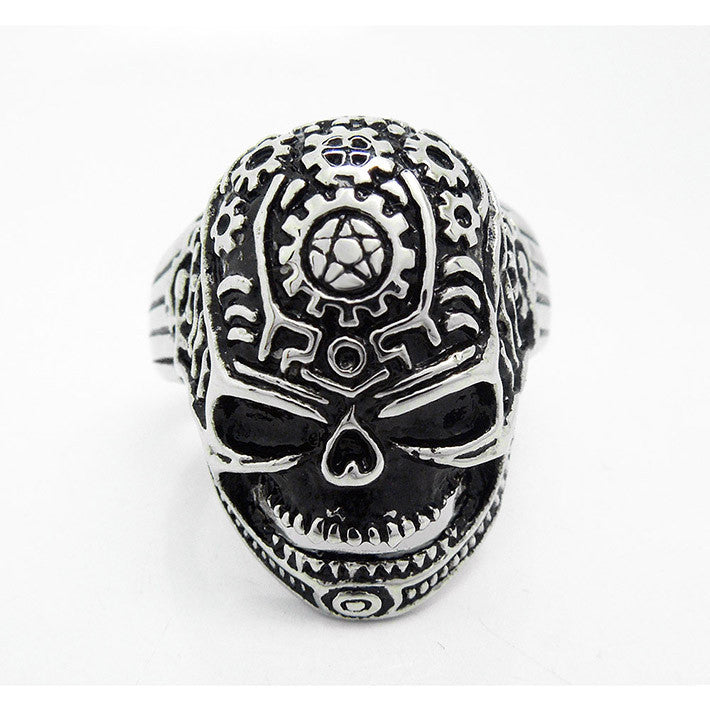 Fashion Flower Skull Ring Gothic numerous ancient pattern trend of titanium steel jewelry SA238