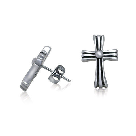 Fashion New Cross Earrings Retro Temperament Wholesales price Titanium steel jewelry CF060