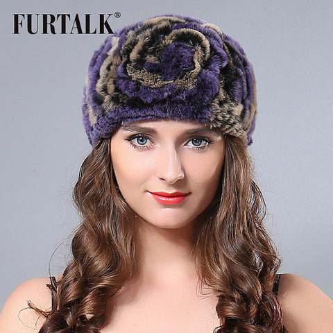 Fashion winter flower hats ring headwrap real rex rabbit fur headband SCE018