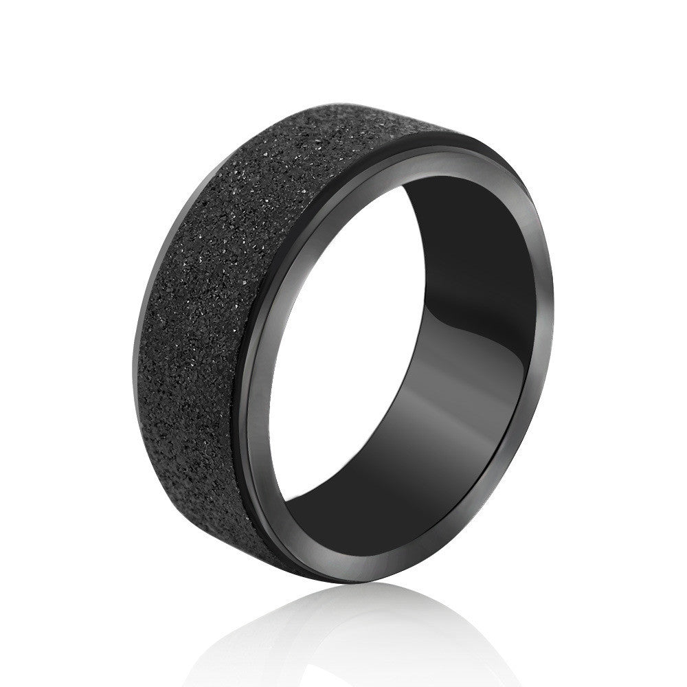 Fashion fun black matte can rotate the ring Titanium steel jewelry SA498
