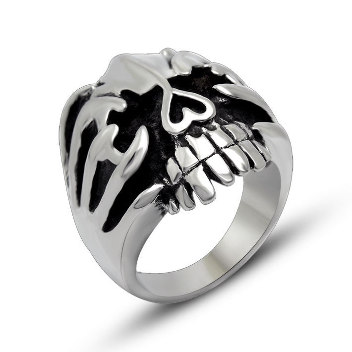Fashion is coming Retro titanium casting ring skeleton domineering SA443