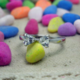 Fashion personality charming heart linked ring women fine jewelry SA453