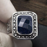 Fashion ring Men s wide version domineering personality single vintage blue sandstone titanium steel jewelry SA119
