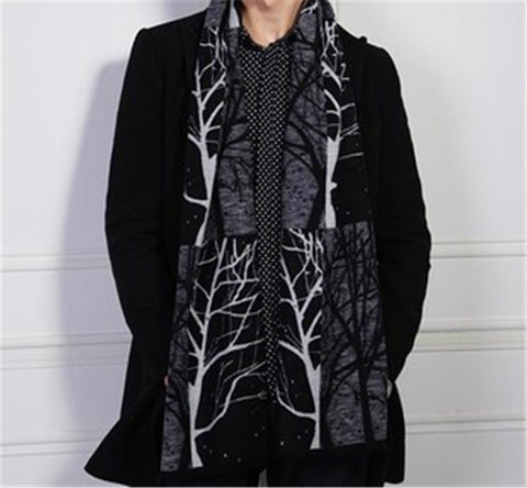 Free Shipping 2015 New Winter Fashion Grey Tree Branch Print Cashmere Scarfs For Mens 30*180cm
