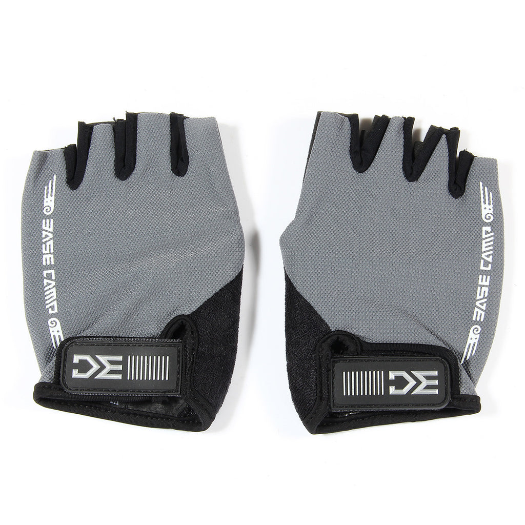 Free + Shipping BaseCamp BC-204 Breathable Shock-proof Lycra Cycling Bicycle Half Finger Gloves - Gray + Black (Size XL)