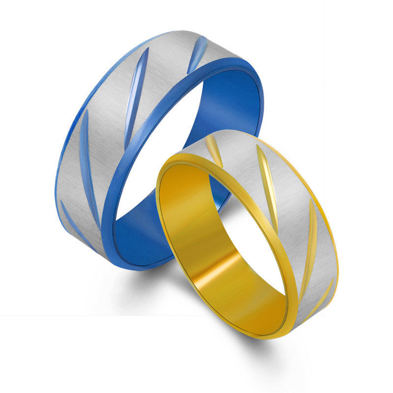 Golden and blue lovers rings fashion and personality Titanium steel fashion accessoriesSA535