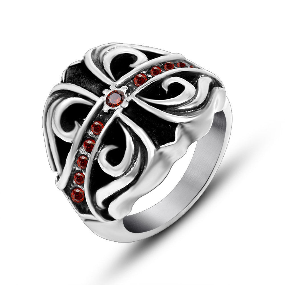 Gothic man domineering titanium steel cross tide restoring ancient ways of vampire pattern ruby ring SA646