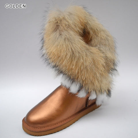 Fox fur women winter snow boots synthetic sheep thick lined rabbit fur tassels waterproof