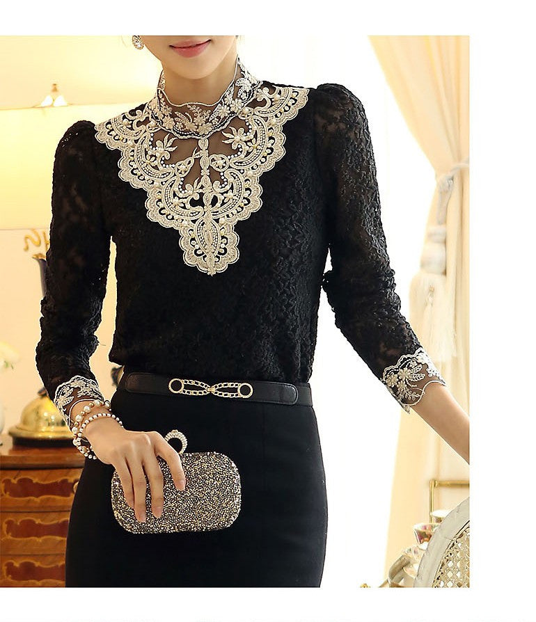 Elegant long sleeve bodysuit beaded women lace blouse shirts crochet tops