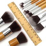 New Bamboo Handle Makeup Cosmetic Brush Sets 11Pcs