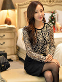 5XL Long Sleeve Crochet Body Lace Chiffon Blouse Women Elegant Vintage Skirt