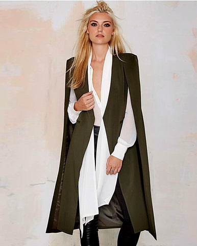 2017 Open Front Blazer Suits Pocket Cape Trench Coat Duster Longline Cloak Poncho Coat