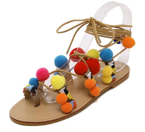 Summer Pom Pom PU Sandals Flat Gladiator High Lace Thong Woman Flip Flops