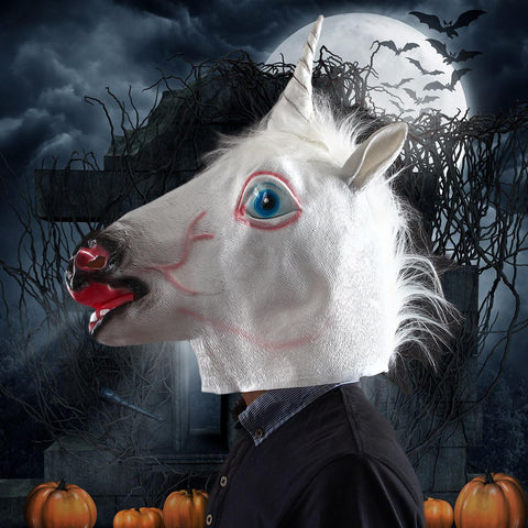 Halloween Costume Prop Funny Unicorn Head Mask –  White + Black + Red