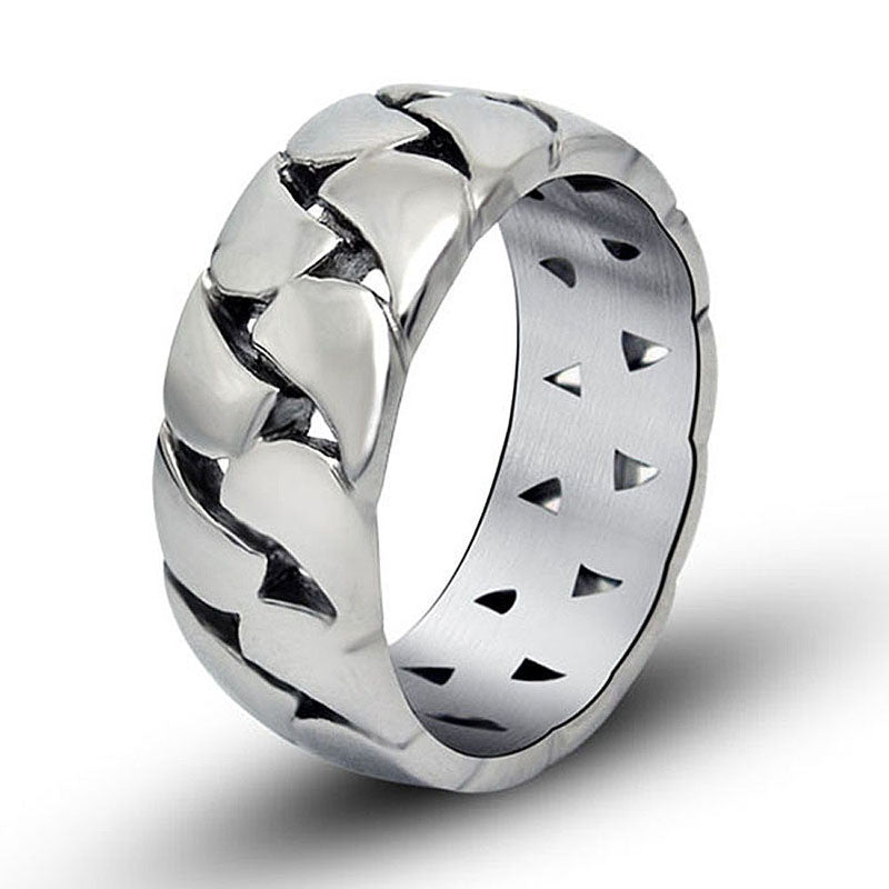 Hollow out chain of creative gift man contracted smooth titanium steel jewelry ring SA147